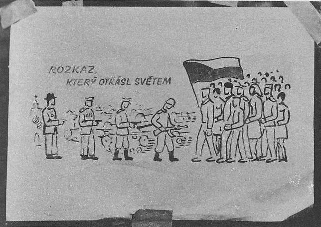 Ilustrace, plakáty a nápisy, které se objevily na veřejnosti v srpnu 1968.