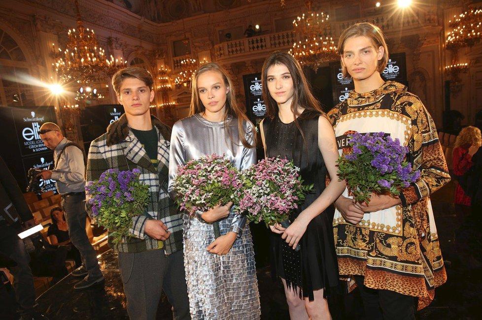 Vítězové letošního Elite Model Look 2018 - Martin Burian, Marie Sýkorová, Jasmína Simonová a Jakub Janírek.