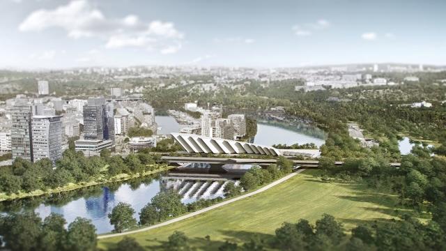 Na místě pražského Libeňského mostu by podle lídra ANO Petra Stuchlíka mohl stát nový tzv. obytný most (na vizualizaci), řekl to 10. září 2018 novinářům společně s autorem nápadu architektem Jaromírem Pizingerem.