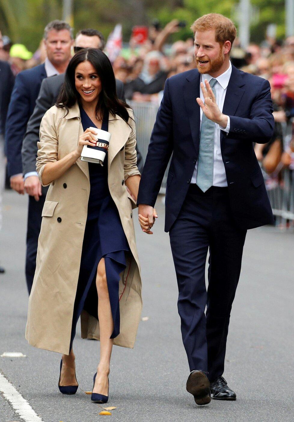 Princ Harry s těhotnou Meghan při návštěvě města Merlbourne v Austrálii.
