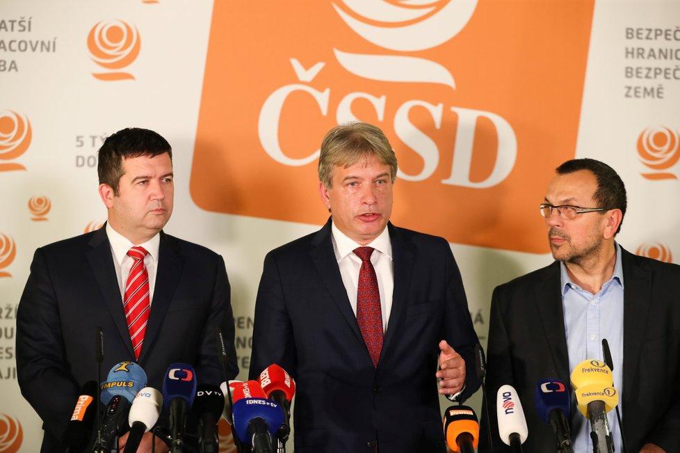 Vedení ČSSD: Jan Hamáček, Roman Onderka, Jaroslav Foldyna (21. 11. 2018)