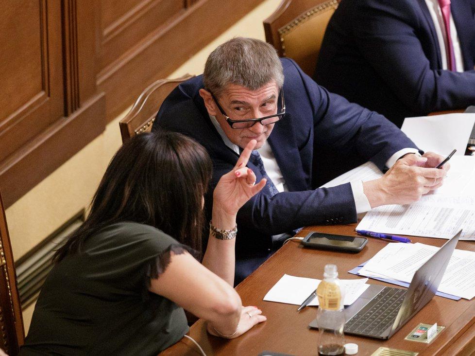 Premiér Andrej Babiš v poslanecké sněmovně velmi často diskutoval. Tentokrát s ministryní financí Alenou Schillerovou (23. 11. 2018)