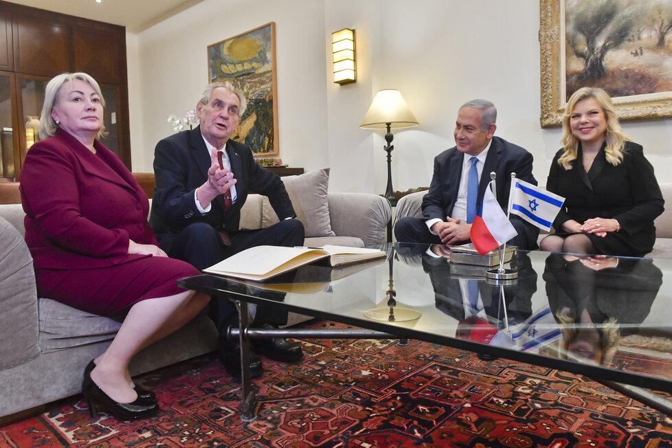 Miloš Zeman a Benjamin Netanjahu s manželkami na setkání v Jeruzalému