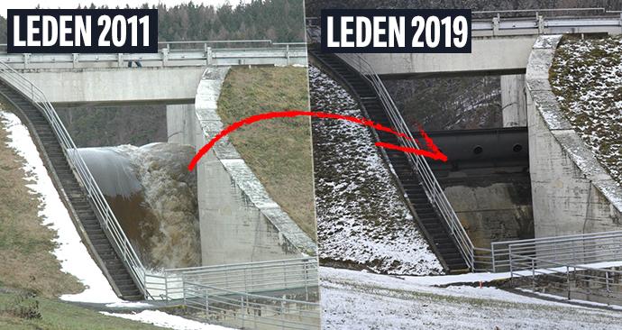 Leden 2011: Přepad z přehrady, kterým se valí voda do údolí. Nyní je přepad suchý.