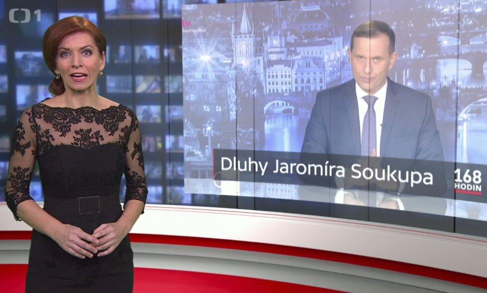 Pořad ČT 168 hodin moderovaný Norou Fridrichovou rozkryl údajné velmi vysoké dluhy Jaromíra Soukupa, majitel Barrandova se brání soudně
