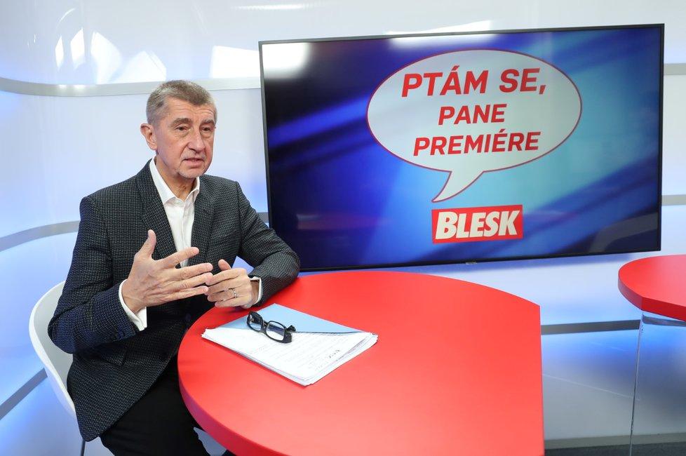Premiér Andrej Babiš ve studiu Blesk Zpráv v pořadu Ptám se, pane premiére (3. 2. 2019)