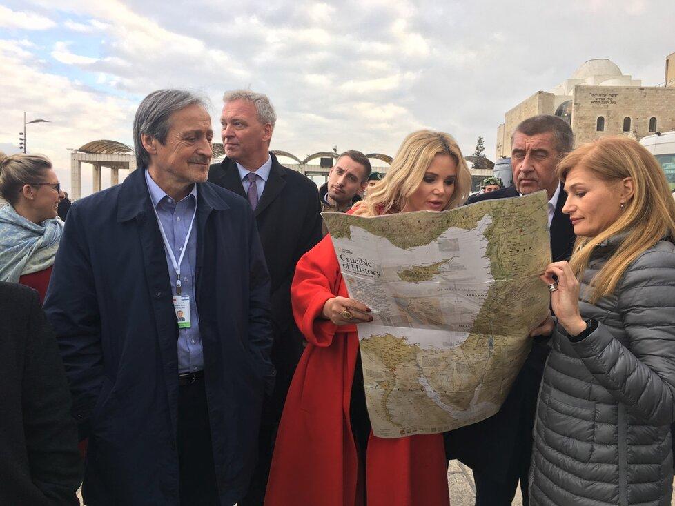Monika Babišová s velvyslancem České republiky v Izraeli Martinem Stropnickým. (19.2.2019)
