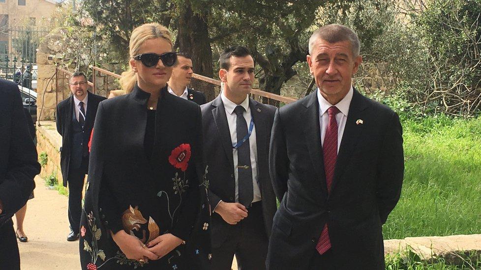 Premiér Andrej Babiš (ANO) s manželkou Monikou na návštěvě Izraele (20. 2. 2019)