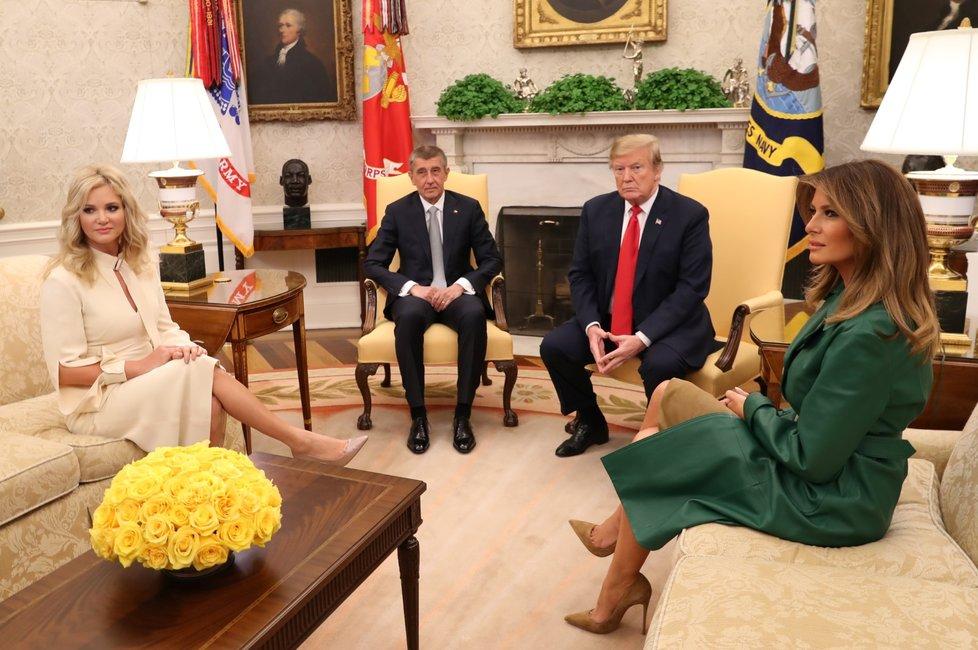 Babiš a Monika u Trumpa a Melanie v Bílém domě (7. 3. 2019)