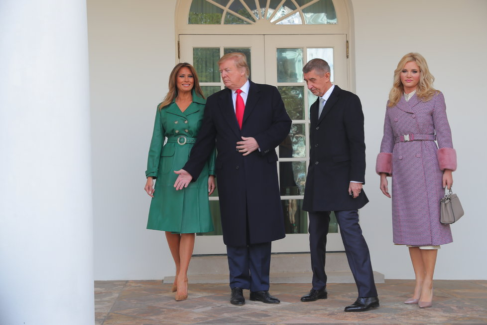 Americký prezident Donald Trump s manželkou Melanií přivítali Andreje Babiše s jeho chotí Monikou 7. 3. 2019.