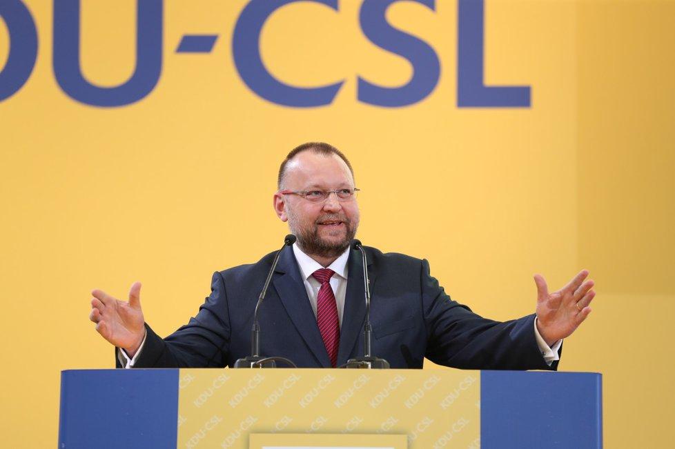 Jan Bartošek při kandidátském projevu na předsedu KDU-ČSL