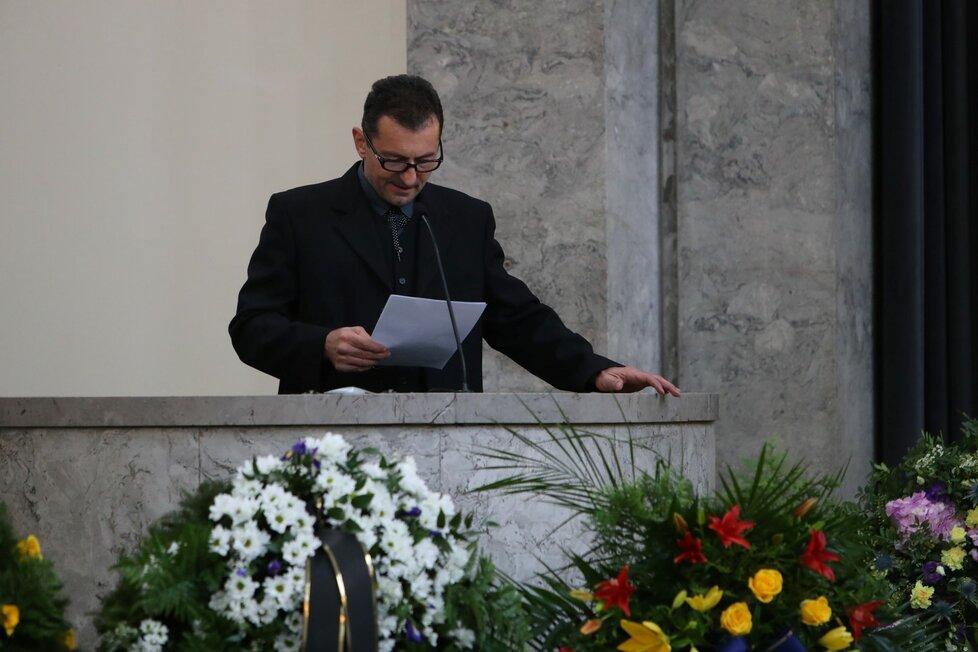 Rodinné rozloučení s Václavem Postráneckým ve Strašnicích: Ondřej Vetchý
