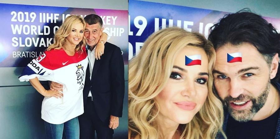 Monika Babišová s manželem a premiérem Andrejem (vlevo) a hokejovou legendou Jaromírem Jágrem