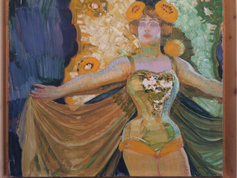 První obraz Františka Kupky, který se k Medě Mládkové, se k ní dostal v zásadě náhodou, přitom symbolicky. Dříve totiž pracovala jako kabaretní tanečnice.