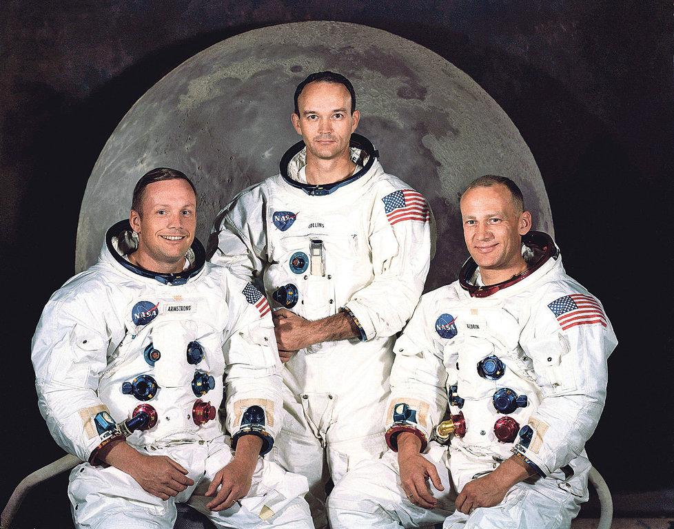 """Zleva Neil Armstrong, Michael Collins a Edwin """"Buzz"""" Aldrin"""