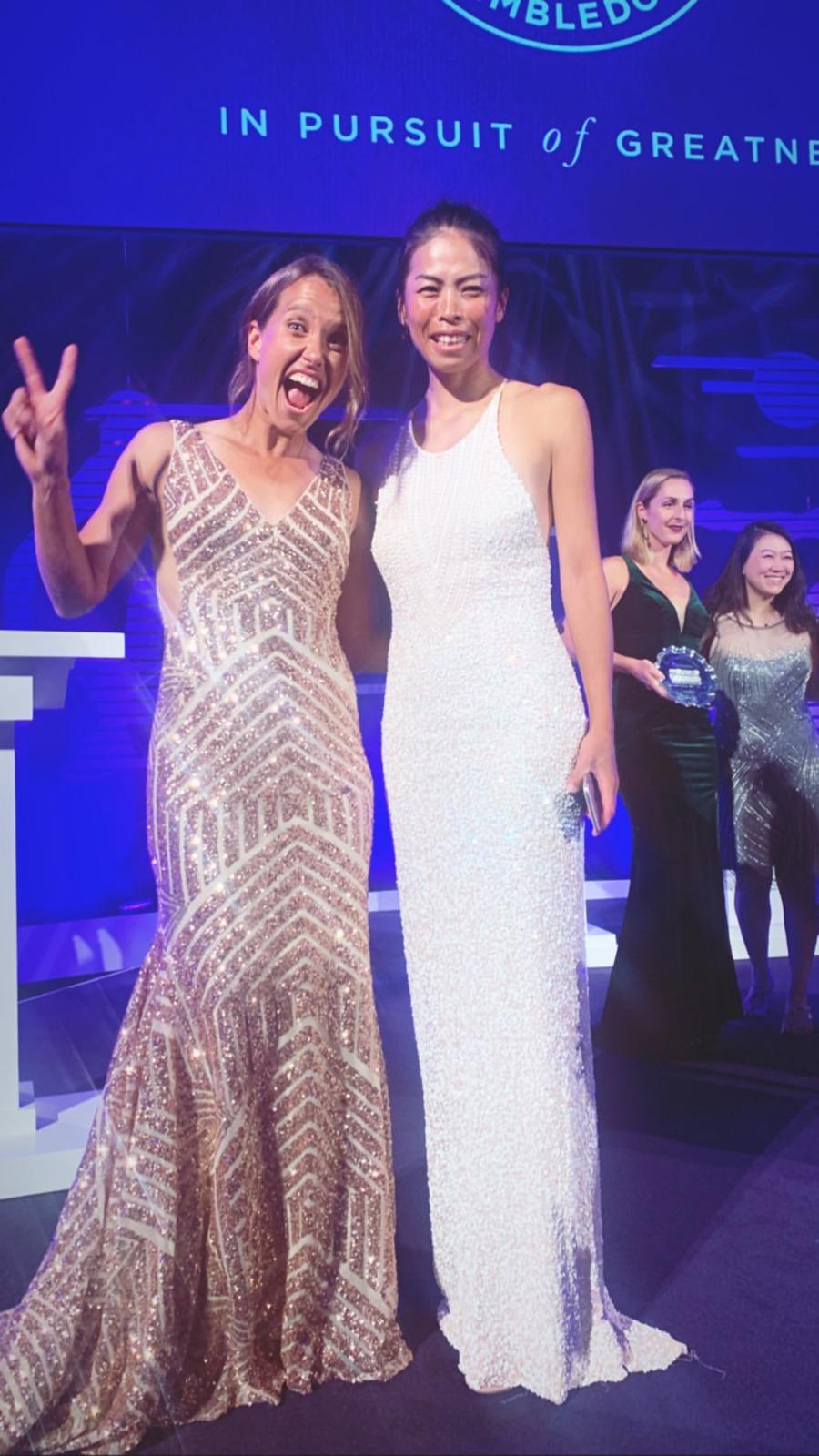 Barbora Strýcová si užila wimbledonský galavečer s parťačkou Sie Šu-wej