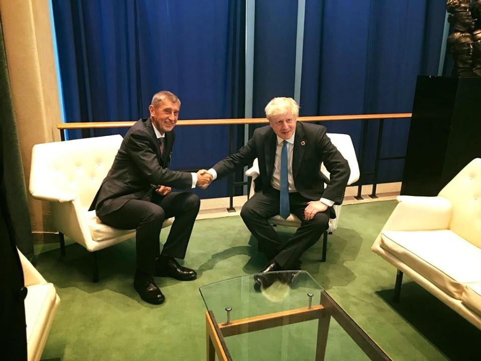 Babiš v New Yorku: Sešel se i s britským premiérem Borisem Johnsonem