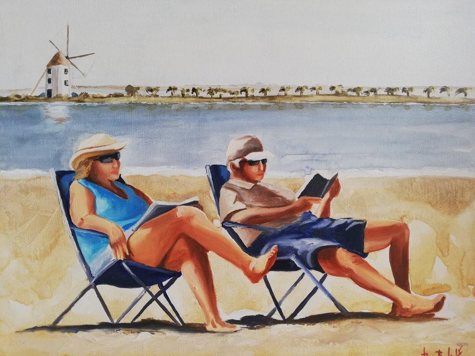 """Místo, kde nikdy nejste moc staří na to jen tak být... Dokladem, že španělská Murcie je vstřícná dříve narozeným, jsou i obrázky místních umělců s motivy seniorů """"na prázdninách""""."""