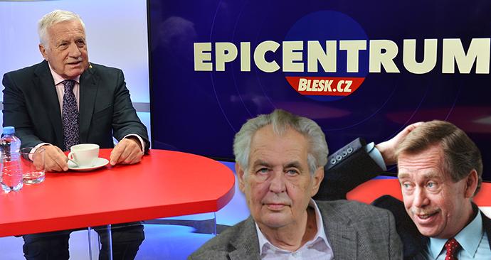 Bývalý prezident Václav Klaus v Epicentru Blesku zmínil svého předchůdce Václava Havla i nástupce Miloše Zemana