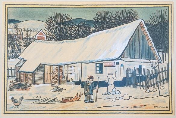 Obraz Josefa Lady s rodným domkem