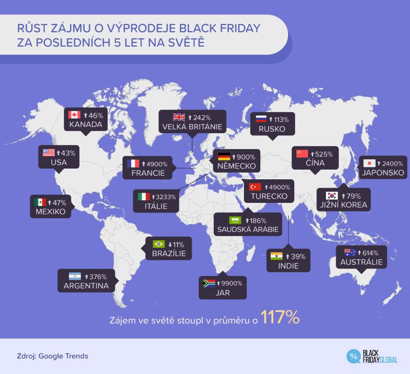 Růst zájmu o výprodeje na Black Friday.
