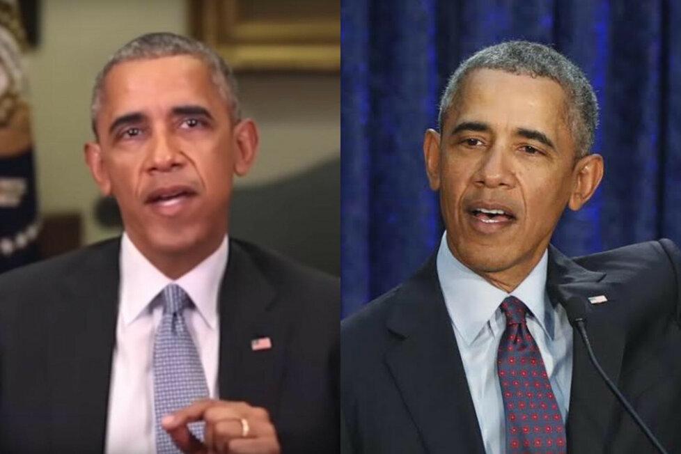 Vpravo je reálná fotografie amerického prezidenta a vlevo jeho počítačem vyrobený dvojník