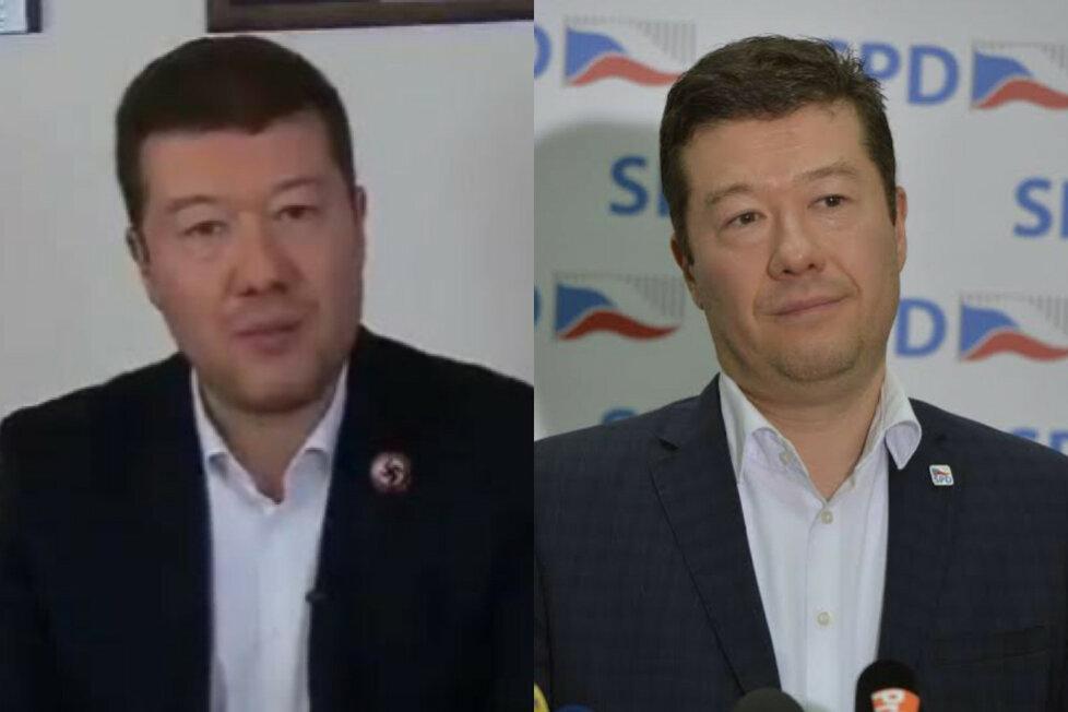 Vlevo je falešná podobizna místopředsedy Okamury a vpravo jeho pravá fotografie