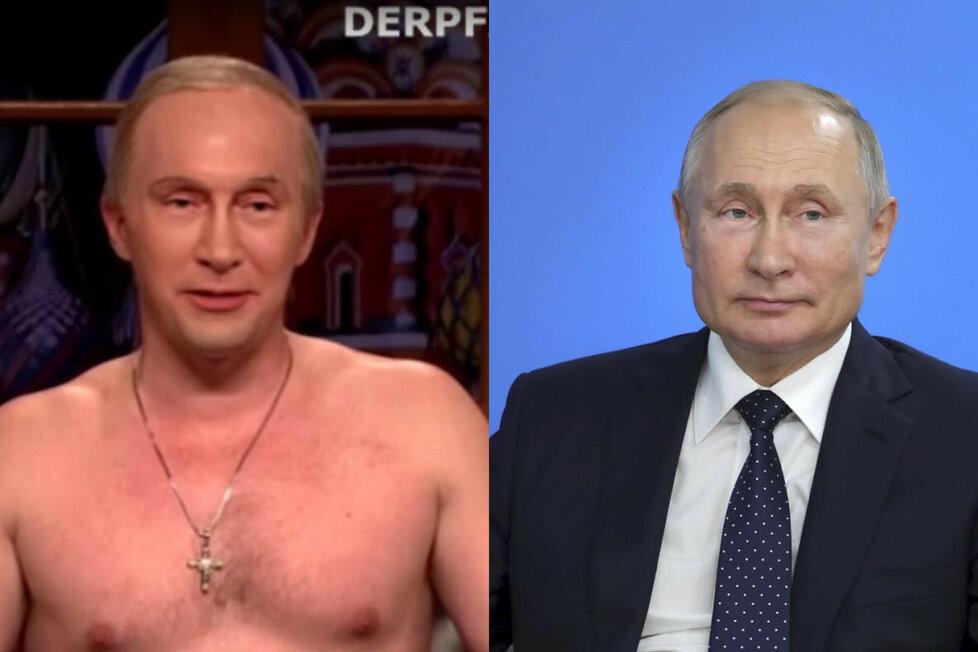 Podobizna Putina vyrobená pomocí chytrých technologií (vlevo) a prezidentova fotografie (vpravo)