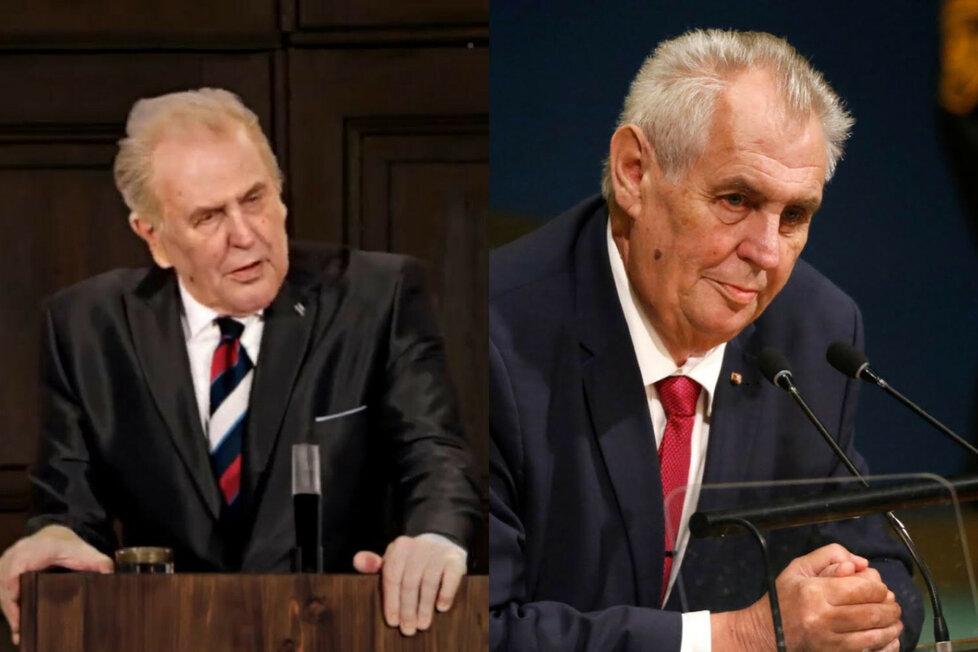 Prezident Miloš Zeman je na fotografii vpravo. Vlevo je pomocí moderních technologií vyrobený dvojník