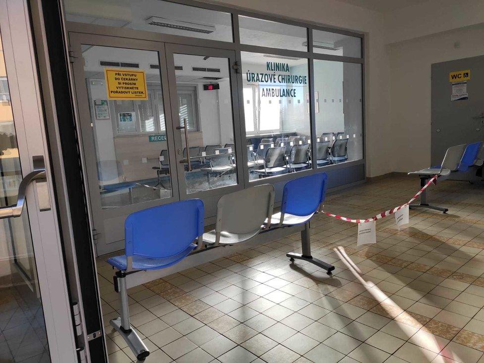 Místo tragédie - čekárna traumatologie Fakultní nemocnice v Ostravě.