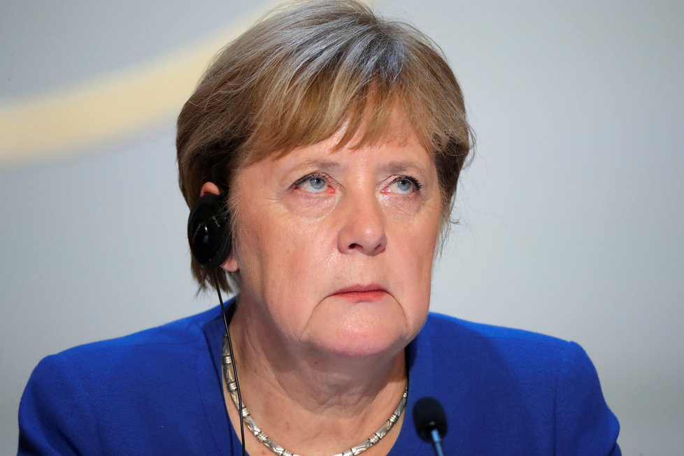 Angela Merkelová na summitu ke krizi na Ukrajině (10. 12. 2019)