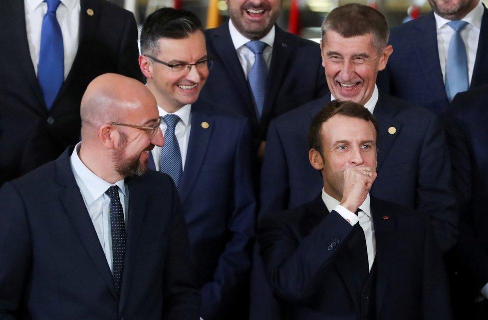 Summit EU v Bruselu: francouzský prezident Emmanuel Macron, předseda Evropské Rady Charles Michel, český premiér Andrej Babiš a slovinský premiér Marjan Sarec