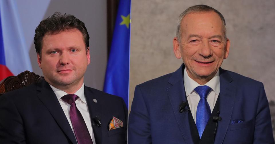 Předsedové Senátu a Poslanecké sněmovny Jaroslav Kubera (ODS) a Radek Vondráček (ANO) dodrželi tradici novoročních projevů (1. 1. 2020)