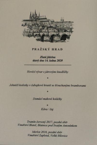 Menu pro oběd prezidenta Miloše Zemana s předsedy parlamentních komor Jaroslavem Kuberou (ODS) a Radkem Vondráčkem (ANO)