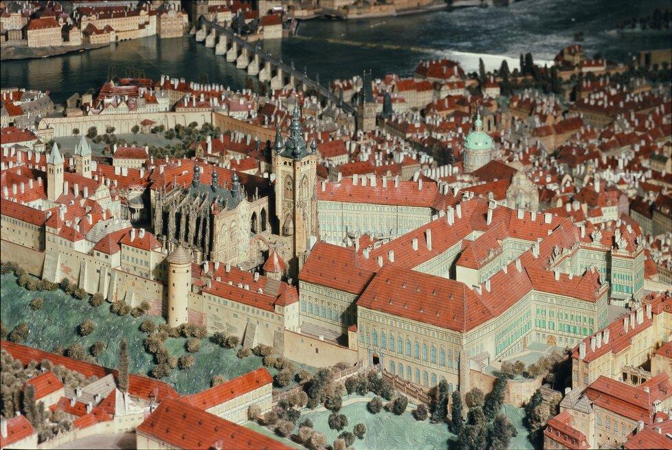 Langweilův model v Muzeu hlavního města Prahy - Pražský hrad s nedostavěným chrámem sv. Víta