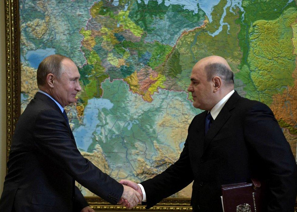 Ruský prezident Vladimir Putin a nový ruský premiér Michail Mišustin