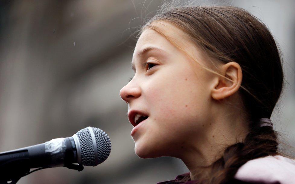 Greta Thunbergová, švédská aktivistka, během protestů ve Švýcarsku (17.1.2020)