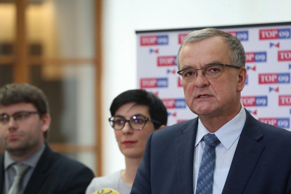 Jan Jakob, Markéta Pekarová Adamová a Miroslav Kalousek na jednání Sněmovny (všichni TOP 09, 21. 1. 2020)