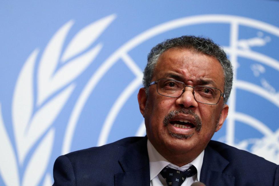 Generální ředitel WHO Tedros Adhanom během projevu ke koronaviru v Ženevě (30.1.2020)