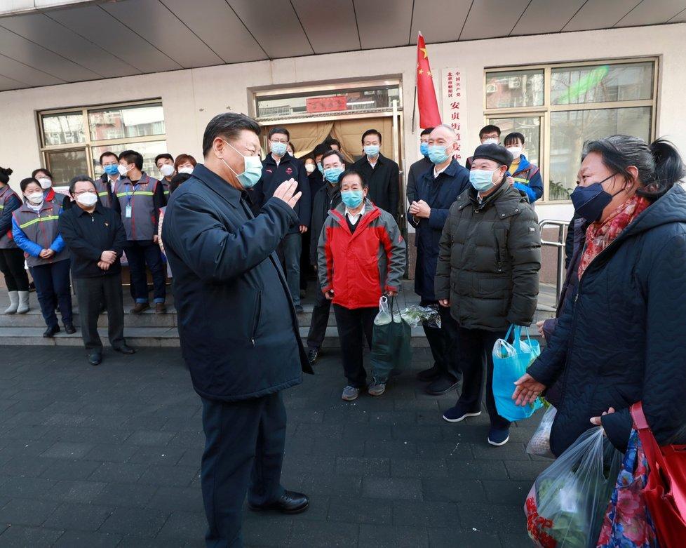 Prezident Si Ťin-pching v Pekingu (10. 2. 2020)