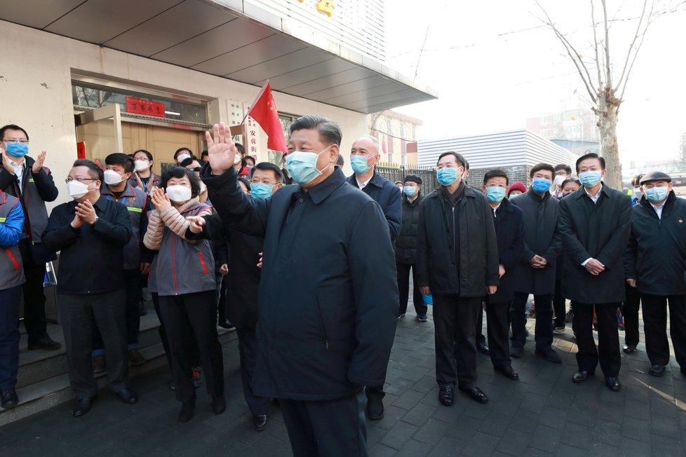 Prezident Si Ťin-pching v Peking (10. 2. 2020)