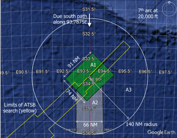 Místa, kde podle vědců nachází trosky letu MH370. A1 - místo s největší pravděpodobností dopadu; A2 - místo z druhou největší pravděpodobností dopadu; A3 - místo s nejmenší pravděpodobností dopadu. Žlutě vyznačený úsek - plocha, kterou prohledali při oficiálním vyšetřování.