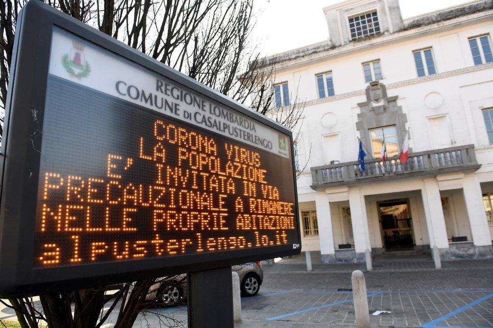 Casalpusterlengo v severní Itálii a obavy z nového koronaviru (22. 2. 2020)
