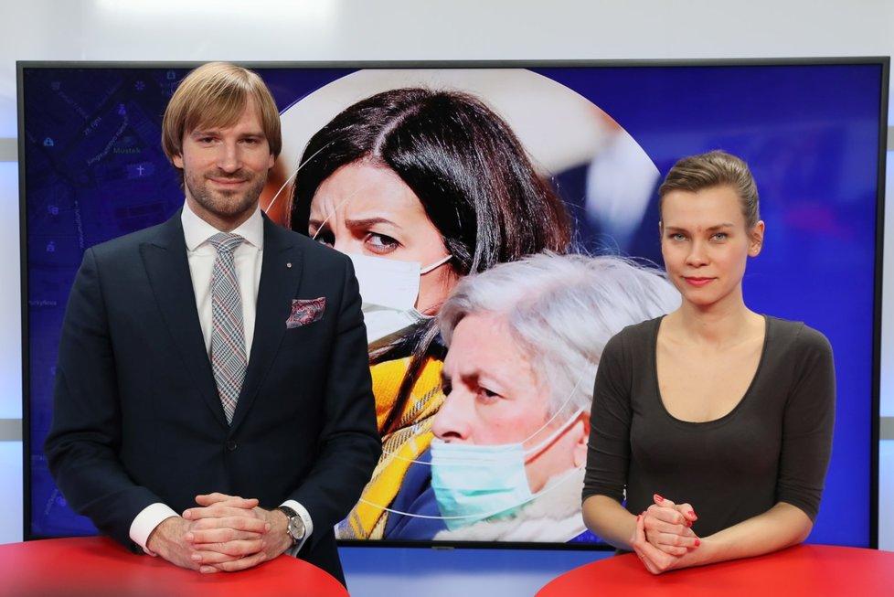 Ministr zdravotnictví Adam Vojtěch (ANO) hostem pořadu Epicentrum živě vysílaného dne 24.2.2020. Vpravo moderátorka Markéta Volfová.