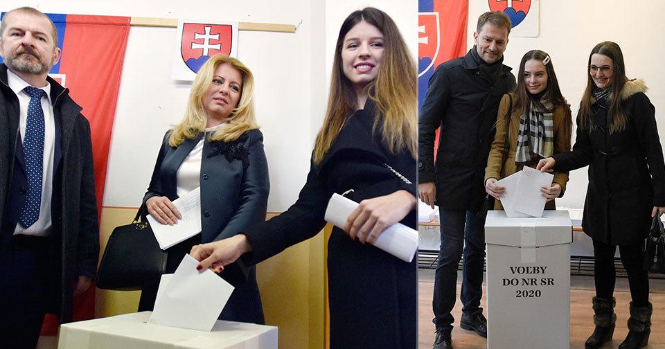 Volby na Slovensku: Volby na Slovensku: Igor Matovič (OLaNO) s rodinou a prezidentka Zuzana Čaputová