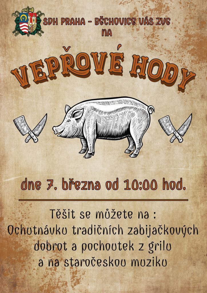7. března se v Běchovicích budou konat vepřové hody.