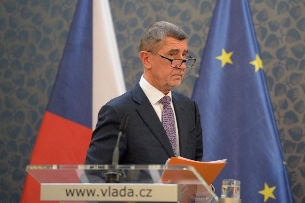 Premiér Andrej Babiš vystoupil 6. března 2020 na tiskové konferenci k aktuální situaci s výskytem koronaviru v Česku