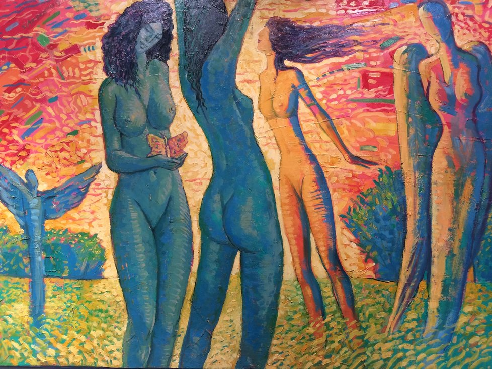 Obraz Belárie ztvárňuje skupinku nahých dívek v okamžiku proměny na anděle.