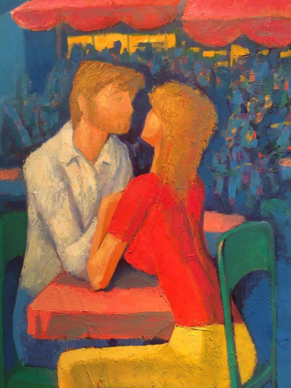 Touha - obraz vystihuje setkání dvou milenců v kavárně, přičemž jsou natolik zahleděni jeden do druhého, že okolní svět pro ně v podstatě neexistuje.