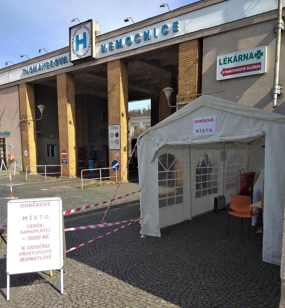V Krči je k nalezení odběrový stan hned u hlavního vchodu do areálu.